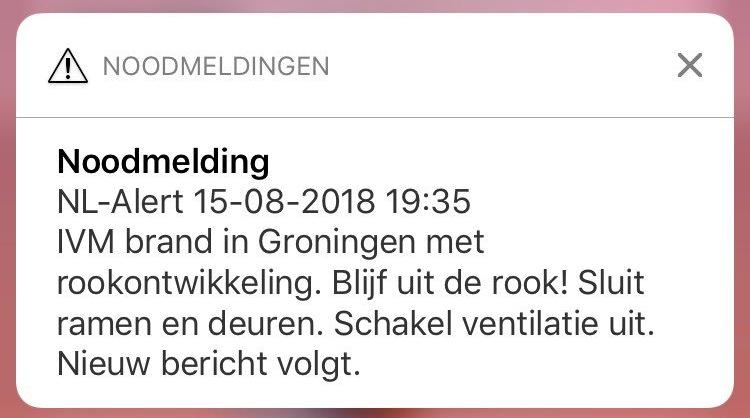 Voorbeeld van een NL-Alert mededeling.